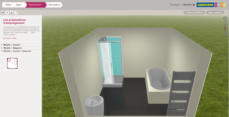 Salle de bain en 3d les logiciels en ligne et leur for Mitigeur castorama salle de bain